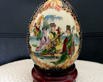 Vintage Satsuma Egg on Wooden Stand - Hand Painted Porcelain Gold Accents Geisha Girls