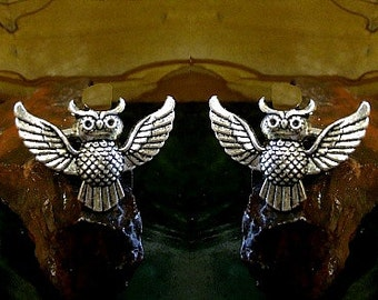Owl Cufflinks in solid sterling silver Free Domestic Shipping
