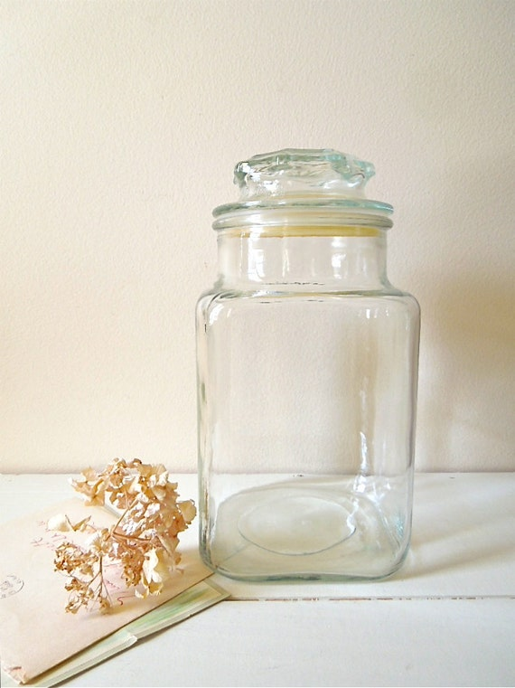vintage clear glass canister or jar patterned lid kitchen