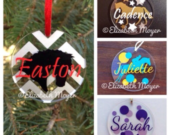 """2"""" Custom Personalized Horse Ornament, Key Chain, Tag - English, Jumper, Jumping, Dressage - Acrylic With Decal"""