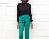 Jade green high waist high rise dress trousers 1990s 90s VINTAGE