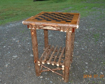 Handcrafted Rustic Cedar Log Game Table W/Birch Accents