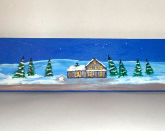 Winter Sled Wall Hanging - Wooden Sled - Winter Scene Sled Home Decor - Hand Painted Sled - Home Decor Sled - Snowman Cabin Pine Trees Scene