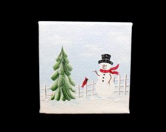 "Snowman Original Acrylic Canvas Painting 4"" x 4"" Unframed"