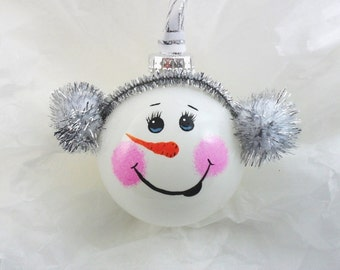 Snowman Ornament Hand Painted Glass Silver Ear Muffs