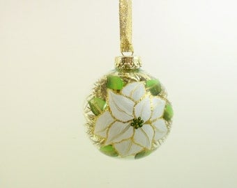 White Poinsettia Ornament Hand Painted Glass