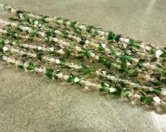 Czech Glass Firepolish Beads Translucent Pink Green Mix 6mm Faceted Glass 25pc