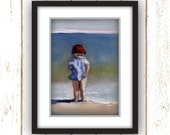 Beach Wall Art - Blue / Red  - Beach Art - Reproduction of Original Oil Painting Titled: Testing the Waters - Linen Textured Paper Prints