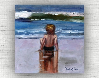 Waiting - Oil Painting Print Home Decor Wall Art Print on Wood Block