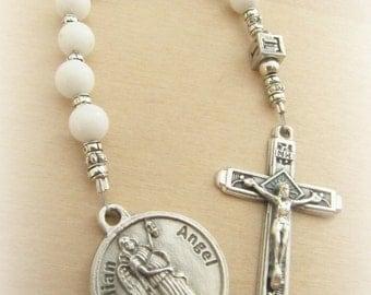Catholic Baby Baptism White Gemstone Personalized Chaplet with Guardian Angel Charm