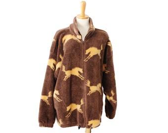 Vintage 90s WILD HORSES Brown Fleece Jacket - Made in America - Women XL, Twin Peaks, rustic, ranch style