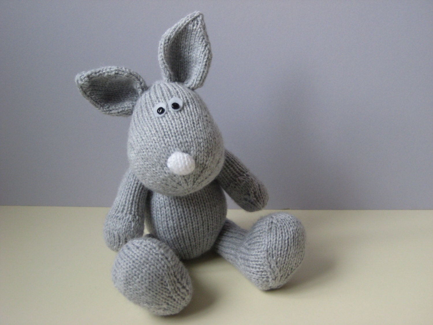 Knitting Patterns For Toy Rabbits : Henry Rabbit toy knitting patterns by fluffandfuzz on Etsy