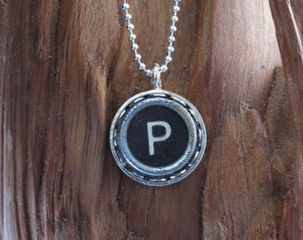 The Letter P Vintage Typewriter Key Pendant Necklace