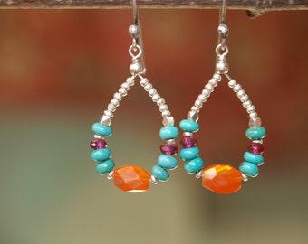 Carnelian Turquoise Sterling Silver Earrings