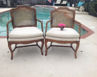 FAUX BAMBOO CHAIRS Pair Cane Back Hollywood Regency Chairs / Faux Bamboo Chairs / Palm Beach Chic Style On SALe at Retro Daisy Girl