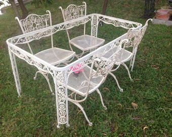 SHABBY CHIC WOODARD Wrought Iron Chairs Vintage Andalusian Shabby Chic Style Set of 4 Chairs On Sale at Retro Daisy Girl
