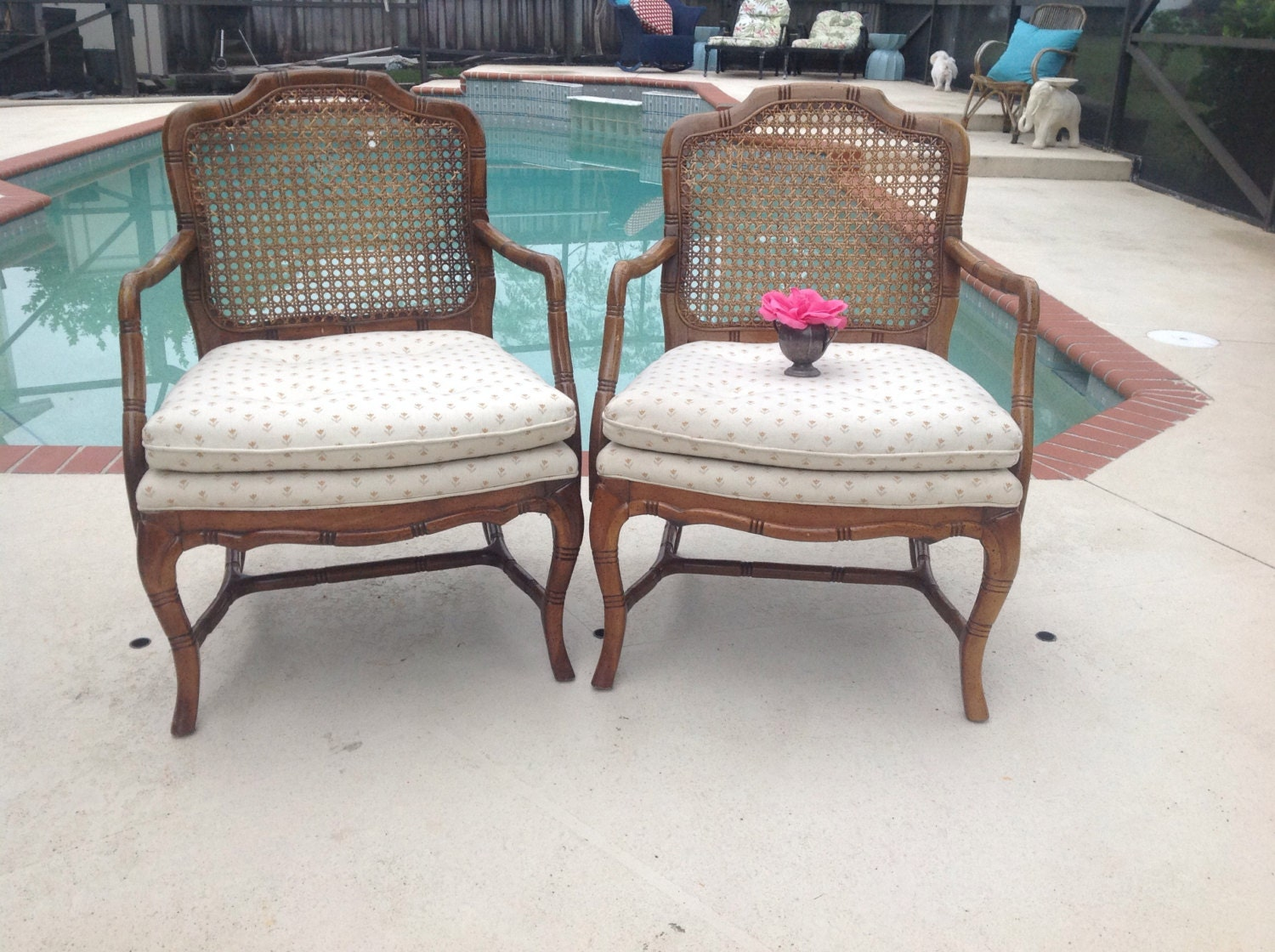 Faux Bamboo Chairs Pair Cane Back Hollywood Regency Chairs