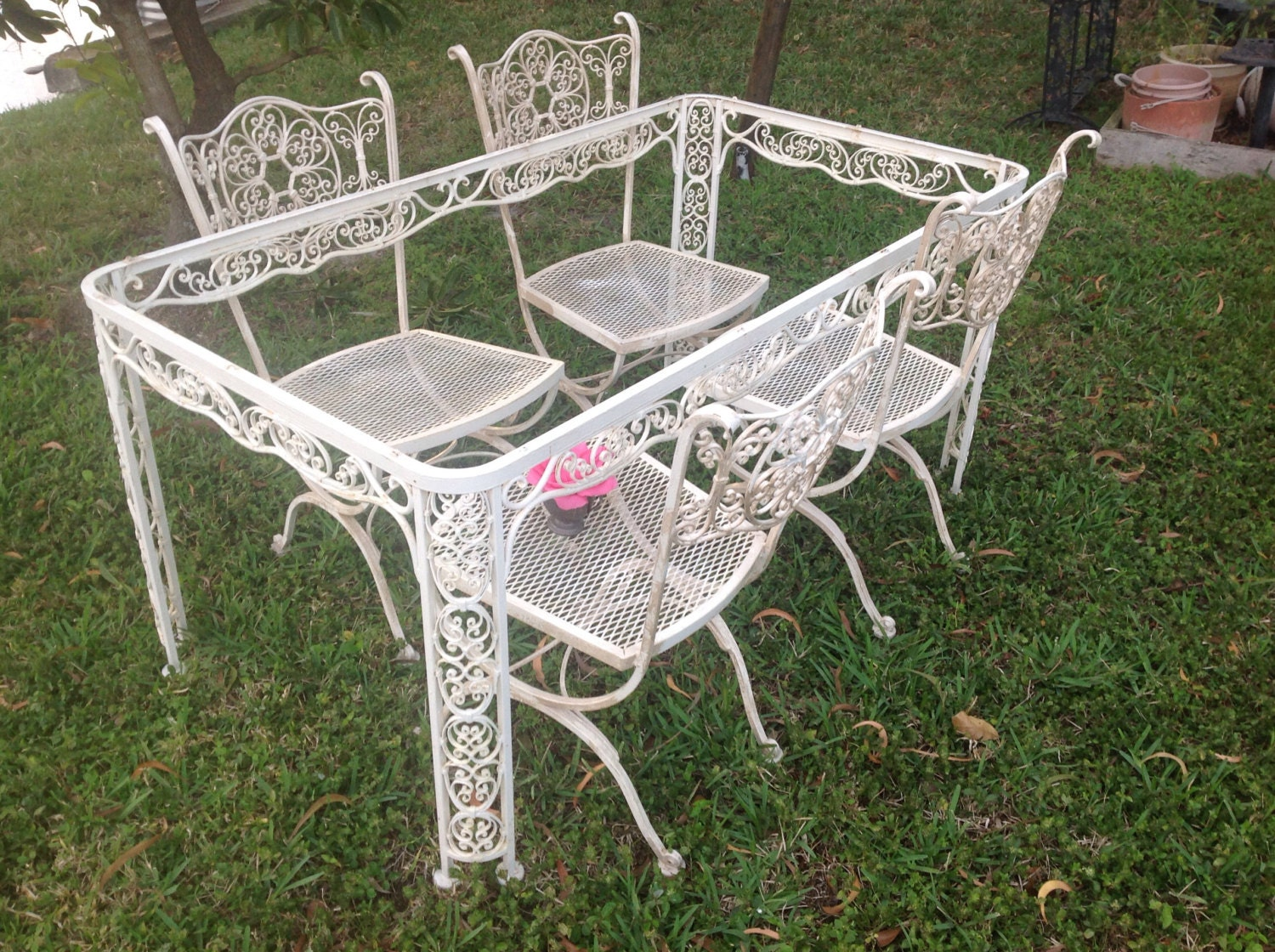 Shabby chic woodard wrought iron chairs vintage by for Woodard outdoor furniture