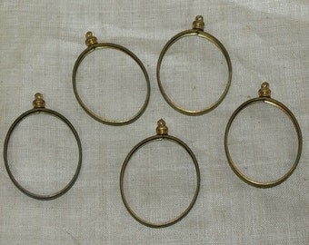Set of 5 Oval Cabochon Pendant Setting made of Raw Brass. VBM110