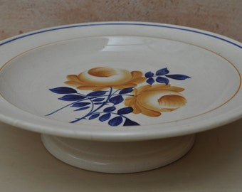 Vintage French Pedestal Compote Dish - Blue and Ochre - Hamage et Moulin des Loups