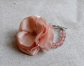 Beaded Bracelet with Bush Pink Satin Flower