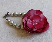 Grey Pearl  Bracelet with Raspberry Satin Flower