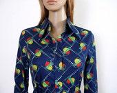 Vintage 1970s Blouse Bright Navy Blue Geometric Body Shirt / Small