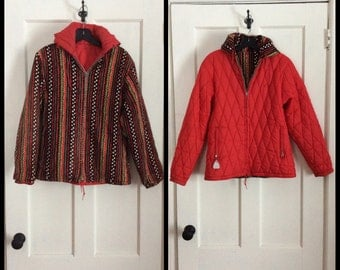 Vintage 1950's Reversible Printed Corduroy and Quilted Nylon Ski Jacket looks size Small to Medium