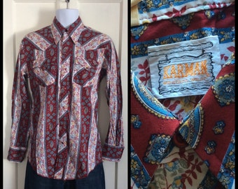 Vintage Karman Western Cowboy Mens Shirt size Medium Tall Red Paisley Full Pattern striped