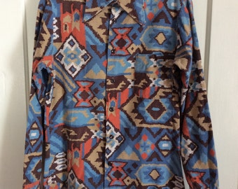 1970's Vintage Navajo Printed Flannel Mens Shirt looks size Small all cotton
