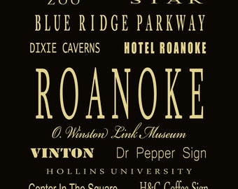 Roanoke VA Subway Bus Tram Scroll Art | Choose Town | Typography Digital Art Print by Dave Lynch - Free Shipping on any additional purchase