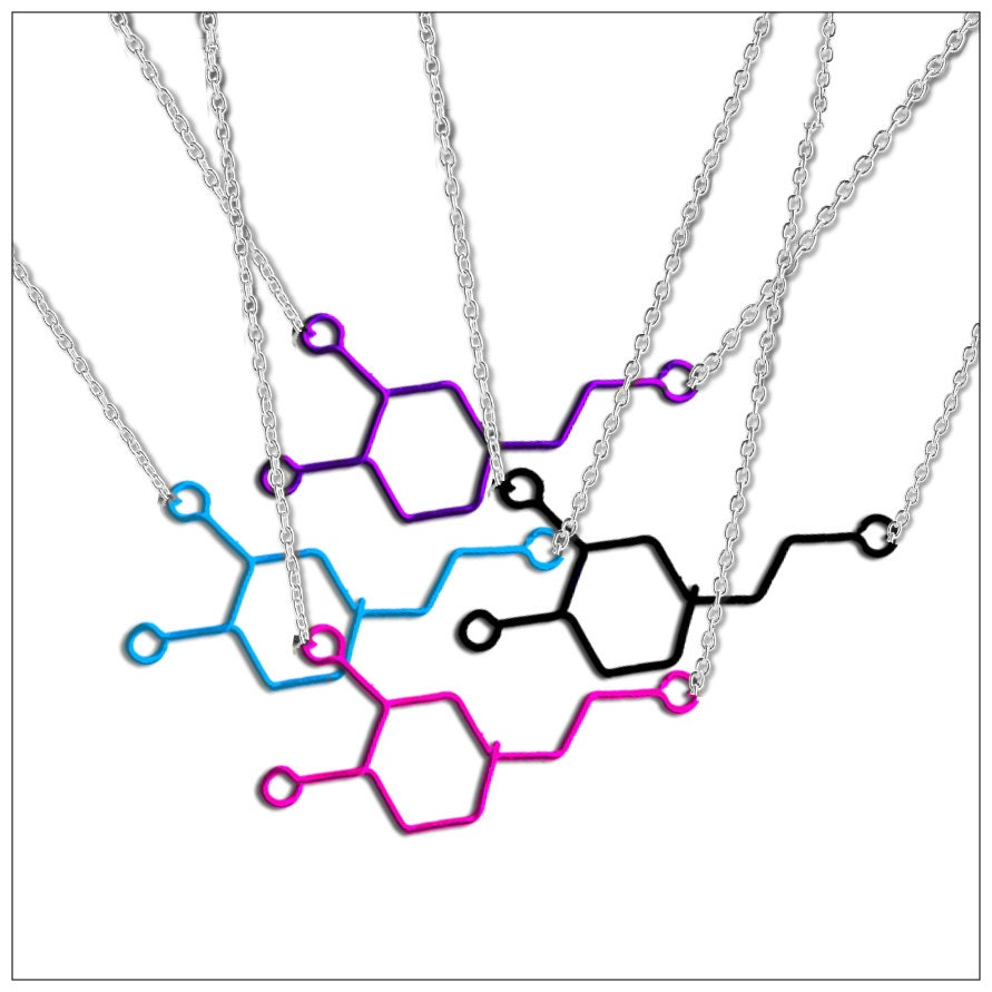 Custom Dopamine Molecule Necklace - Personalized Geekery Jewelry - Any Color! Organic Chemistry Jewelry of Happiness, Pleasure and Joy