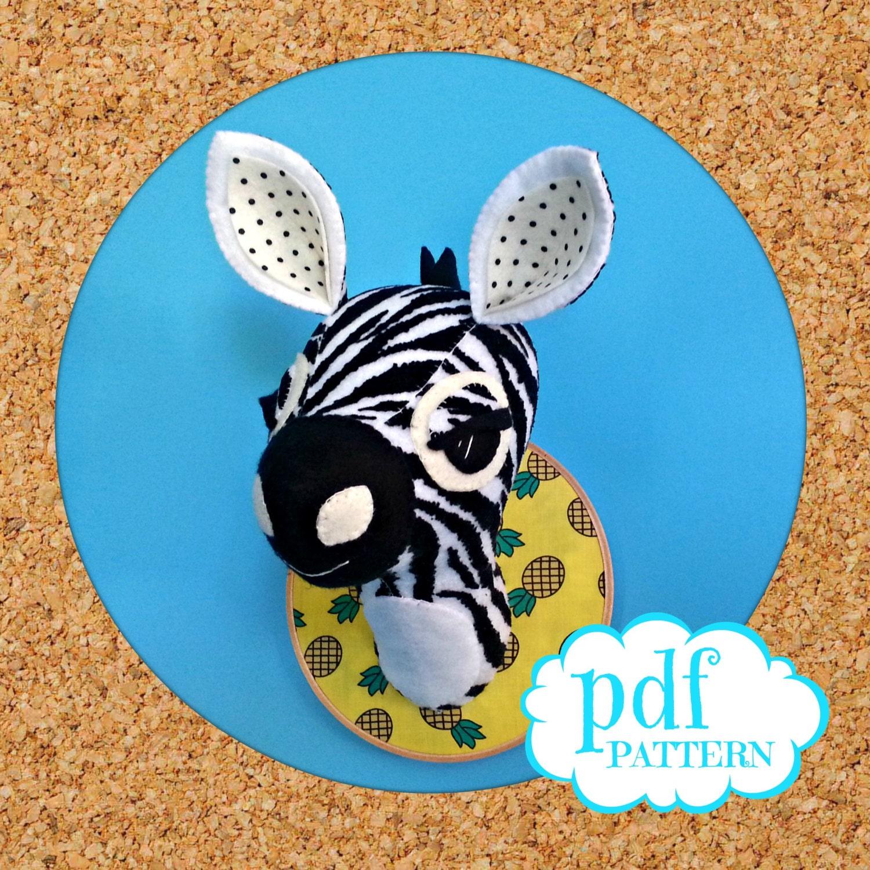 Zebra head sewing pattern faux taxidermy pdf diy safari for Diy room decor zebra