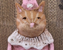 Orange Tiger Cat Circus Clown,OOAK, handmade from papier mache, Cat Circus Clown