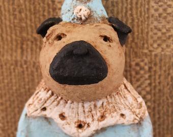 Pug Circus Clown,OOAK, handmade from papier mache, PUG CIRCUS Dog