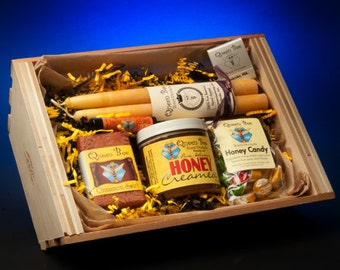 Cinnamon Creamed Honey Gift basket by Queen bee honey in Massachusetts