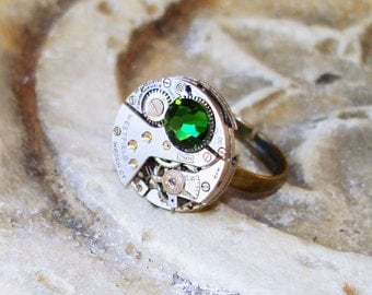 Reduced from 20.00 to Half Price, Ring, Vintage Womens Watch Movement, Swarovski Crystal, Steampunk Ring, C 4-2