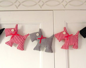 Scottie Dog Garland Red  Gingham Black Polka Dots and Stripes