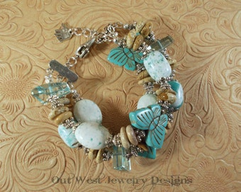 Cowgirl Bracelet - Chunky Triple Strand Jasper and Howlite Turquoise Butterflies