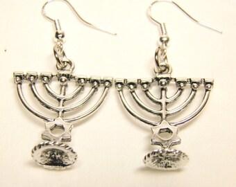 Hanukkah Earrings, Menorah Earrings, Sterling Silver and Pewter Menorahs, Hanukkah Jewelry, Menorah Jewelry #2