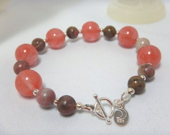 Cherry Quartz & Rhondite Bracelet (Style 2)
