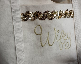 Metallic Gold Wifey Embroidered Tote Bag Bride, Free Shipping