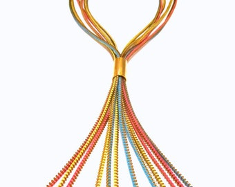 Colors Cascade Zippers Textile Gold Statement Necklace