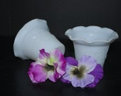 Pair Vintage Early American Style Opaque Milk Glass Votive Candle Holders by Hazel Atlas