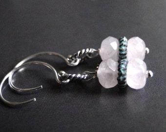 LAST CALL SALE Jewelry, Earrings, Dangle Pale Pink Rose Quartz Earrings, Gift for Her Stocking Stuffer Sterling Silver Hoop Earrings