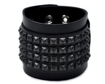 "4 Row Black Pyramid Stud Leather Wristband Cuff Bracelet 2-1/2"" Wide - BC652BS"