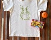 Organic Cotton Toddler Shirt - Screen Printed American Apparel Kids T Shirt - Bunny Rabbit - Soft Toddler Tee - Kids Clothes - You pick size