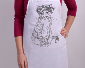 Screen Printed Apron - Natural Cotton Twill - Cat - Floral - Eco Friendly - Kitchen Apron - Gardening Apron - Cotton Full Apron - Kitty