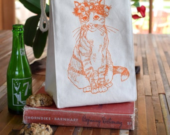 Lunch Bag - Screen Printed Recycled Cotton Lunch Bag - Reusable and Washable - Eco Friendly - Handmade - Lunch Box - Cat - Canvas Bag