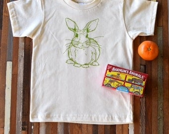 Organic Cotton Toddler Shirt - Screen Printed American Apparel Kids T Shirt - Bunny Rabbit - Soft Toddler Tee - Kids Clothes - You pick size